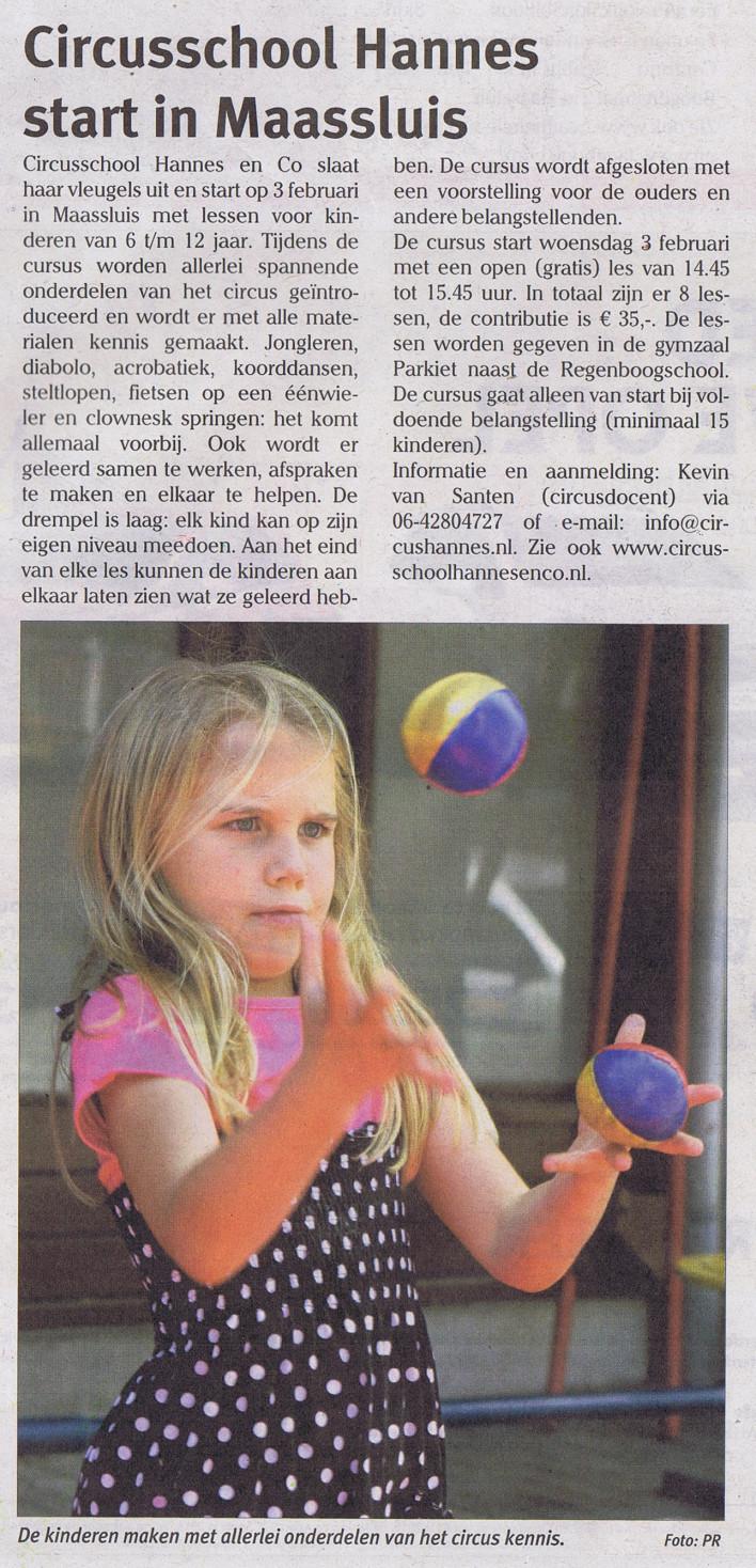 nieuwsbericht start circusschool Maassluis