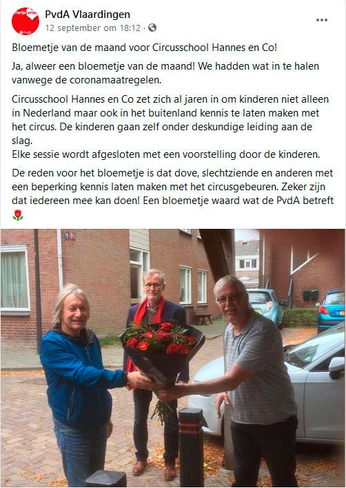 Bloemetje van de maand van de PvdA voor Circusschool Hannes en Co!